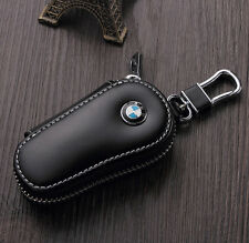 Black Premium PU Leather Cow Car Key Holder Key Chain Ring Bag Case for BMW NEW
