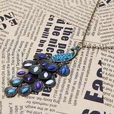 Gorgeous Ladies Vintage Style Peacock  Long Rhinestone Pendant Necklace Gift