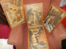 SET FOUR 1960S  BIG EYE CAT PRINTS  BY REG LEWIS