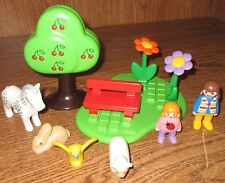 Playmobil Play Set Grass Tree Flowers Horse Bench Sheep Bunny Bird People Lot