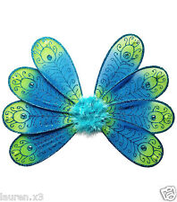 PEACOCK BUTTERFLY FAIRY NYMPH Bird Wings Blue Green Turquoise Embellished Glitte