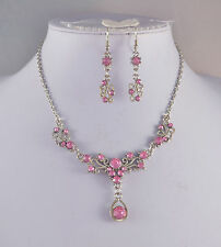 SILVER TONE PINK CRYSTAL  SMALL TEARDROP NECKLACE SET
