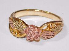 Black Hills Gold Rose Leaves Ring 10kt 12kt Stamper