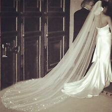 2016 Long 1T Cathedral Wedding Veil Crystal Simple With Comb Veils white 696lk69