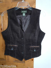 Eddie Bauer Petite womens lined sleeveless button-down vest size 2 - brown
