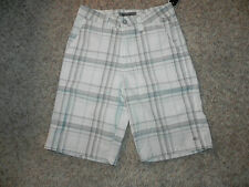 O'NEILL MENS CASUAL SHORTS WHITE GRAY PLAID SIZE 28 NWT $44.50
