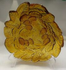 Vintage AMBER Carnival Glass CANDY Dish Bowl GRAPES & LEAVES Design
