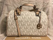 NWT MICHAEL KORS PVC GRAYSON LARGE SATCHEL BAG IN VANILLA