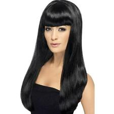 Womens Girls Black Babelicious Wig Long Straight Fringe Katy Perry Colour Hair