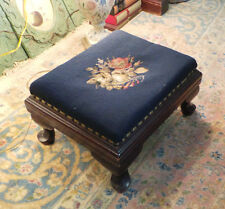 NEEDLEPOINT STOOL WITH WOODEN MAHOGANY FRAME