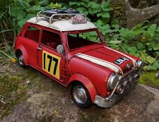 Vintage Mini Cooper 177 Rally Tin Model Aged Looking  Retro 1960's