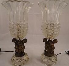 PAIR OF ANTIQUE FRENCH METAL AND GLASS/CRYSTAL CHERUB TABLE LAMPS