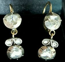 Antique Vintage Dangle Diamond Earrings 14K White Gold 19th Victorian Edwardian