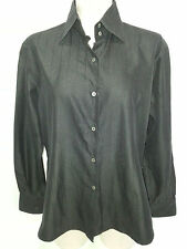Gerlin Womens Long Sleeve Button Front Shirt Size 48 L Large Black Italy
