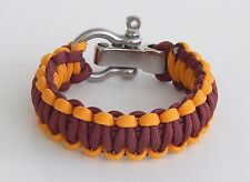 Premium 550 Paracord Survival Bracele Maroon And Gold S/S Shackle Hand Made USA