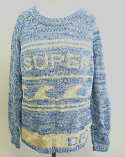 Superdry Sweater Waverider Jumper Blue Twist Ladies Small rrp £50 box7406 G