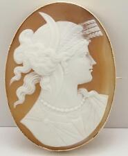 Oval Shell Cameo Brooch depicting Ceres, rub over setting, 9ct.