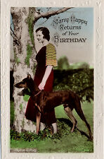 DOBERMAN PINSCHER DOG AND FILM STAR VINTAGE STYLE BIRTHDAY GREETINGS NOTE CARD