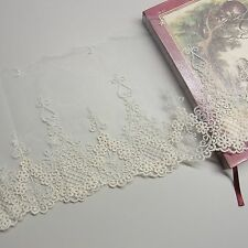 1Yard Vintage Style Embroidery Tulle Lace Trim 15cm Ivory Wedding dress Gorgeous