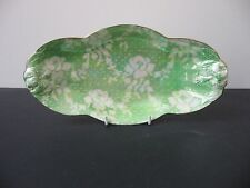 Vtg ROYAL WINTON GRIMWADES LUSTRE GREEN AND WHITE FLOWERS HANDLED SERVING DISH