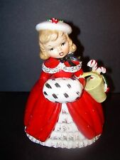 VTG NAPCO  LARGE CHRISTMAS GIRL & MUFF PLANTER~CX2266C~1956~LOVELY VISUAL~AS IS