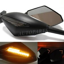 MATTE BLACK FRONT & BACK LED TURN SIGNAL INTEGRATED INDICATOR REARVIEW MIRRORS