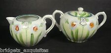 Te-oh China Hand Painted Nippon Creamer Sugar Japanese Anemone Flower 1891-1920