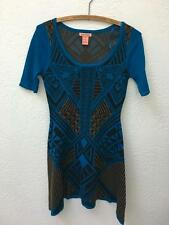 Anthropologie Flying Tomato Blue Black Sweater Dress Geometric Print sz S