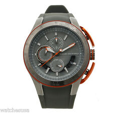 Armani Exchange Chronograph Grey Dial Grey Silicone Rubber Mens Watch AX1402
