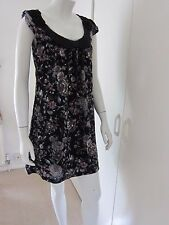 Yumi green black floral lace dress tunic smart casual S 14 silver beads rrp £55