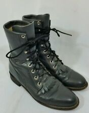 Women's Justin Lace Up Roper Western Kiltie Paddock Leather Boots-7.5 B Gray