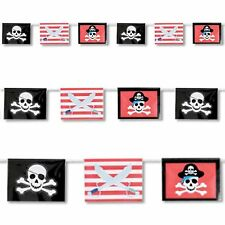 12ft Red Stripe Crossed Swords Pirate Flag Banner Childrens Party Decoration