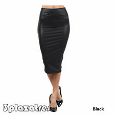 TRE Fine WOMENS WET LOOK FAUX LEATHER PENCIL BODYCON HIGH WAISTED MIDI SKIRT