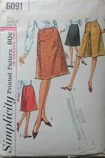 """Vintage 1960s Sewing Pattern Simplicity 6091 Misses' A-Line Skirts W24"""" Complete"""
