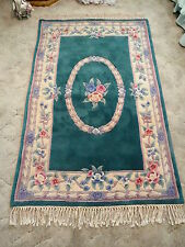 GORGEOUS HAND TUFTED & CARVED Oriental Chinese TEAL Wool Rug 5'5 x 3'6 FLOWERS!