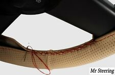 BEIGE PERFORATED LEATHER STEERING WHEEL COVER RED STITCH FOR TOYOTA PRADO 3 J120