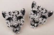 Leopard Stud Earrings Crystal Rhinetone Fashion Animal Jewelry Gift Silver EA05