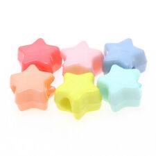 100x New Sale Mixed Colorful Star Shapes Acrylic Beads European Charm Findings L
