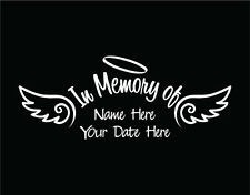 In Memory of Decal Car Custom Window Vinyl Sticker with Angel Wings