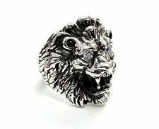 Men's King Lion Heavy Silver Ring With Black And White Diamonds