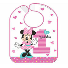 Disney Minnie Mouse First Birthday Vinyl Bib Baby Girl 1st Birthday Party Supply