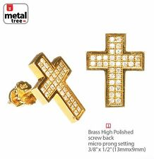 Men's Hip Hop Cross Brass Gold Plated M Pave CZ Setting Screw Back Earring 962 G