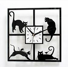 URAQT Cats in the Window - Cat-themed Hanging Wall Clock - Great Home D¨¦cor G