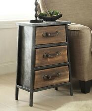 Urban Industrial Style Rustic Cabin Furniture Nightstand End Table Accent Chest