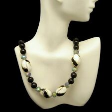 Vintage Black Glass Beads Necklace White Enamel Gray AB Crystals Very Classy