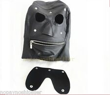 FACE EYES GIMP HOODS HARNESS MOUTH ZIP PU LEATHER FULL HOOD MASK BLINDFOLD