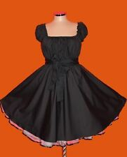 50s BLACK ROCKABILLY SWING DRESS 18 20 22  Plus Size eMo Gothic Pin Up eMo Retro