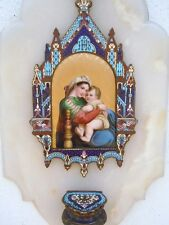 Bénitier émaux cloisonné peinture Vierge à l'Enfant Madone chaise époque 19ème