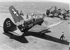 WWII B&W Photo US Navy SB2C Helldiver on Carrier Deck  WW2 / 7050
