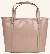 "GUCCI 309613 Rosa patent leather Monogram embossed ""microguccissima"" Tote Bag"